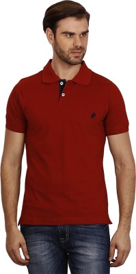 Crush on Craze Solid Men's Polo Neck Red T-Shirt
