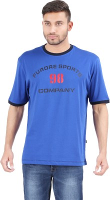 Furore Solid, Printed Men's Round Neck Blue T-Shirt