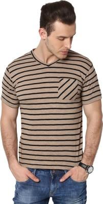 Cherymoya Striped Men's V-neck Brown T-Shirt