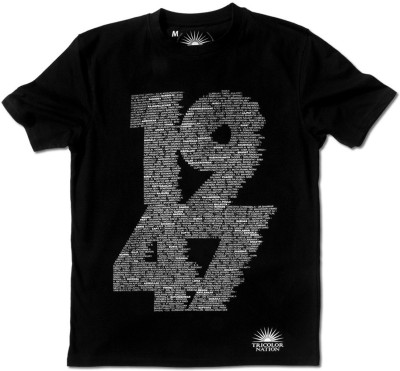 Tricolor Nation Graphic Print Boys Round Neck Black T-Shirt