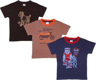 Bio Kid Printed Boy's Round Neck Multicolor T-Shirt