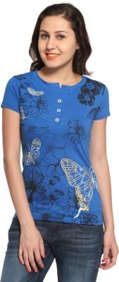 Maatra Printed Women,s Henley Blue T-Shirt
