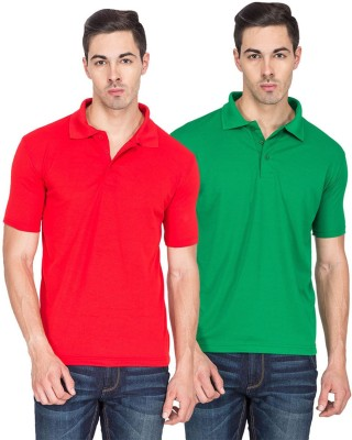 River Nation Solid Men's Polo Neck Red, Green T-Shirt