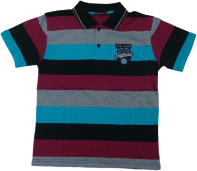 Miracle Striped Men's Polo Neck Black T-Shirt