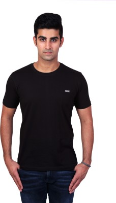 Bridge Solid Men's Round Neck Black T-Shirt