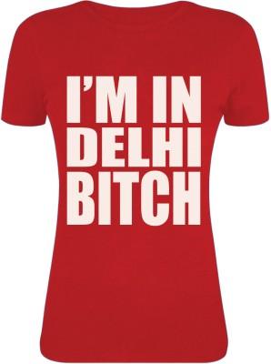 Gabi Printed Women's Round Neck Red T-Shirt