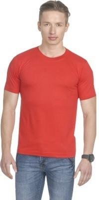 LF Solid Men's Round Neck Red T-Shirt