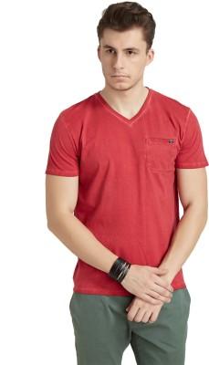 Breakbounce Solid Men's V-neck Red T-Shirt