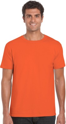 NUVA Solid Men's Round Neck Orange T-Shirt