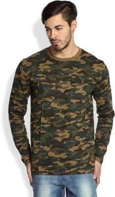 Difference Of Opinion Military Camouflage Men's Round Neck Brown T-Shirt