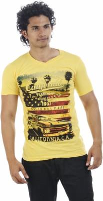 Adventure Printed Men's V-neck Yellow T-Shirt