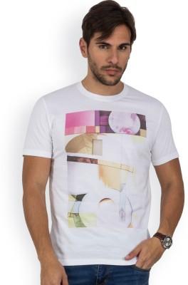 Blue Monkey Printed Men's Round Neck White T-Shirt