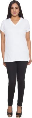 Finesse Solid Women's V-neck White T-Shirt