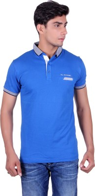 All Ruggby Printed Men's Polo Neck Blue T-Shirt