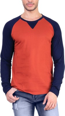 Unkonventional Solid Men's Round Neck Orange, Blue T-Shirt