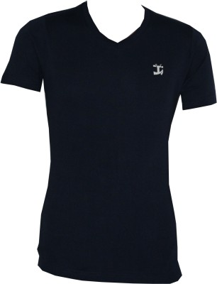 Tick Lish Solid Men's V-neck Dark Blue T-Shirt