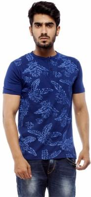 Trendy Bandey Printed Men's Henley Blue T-Shirt