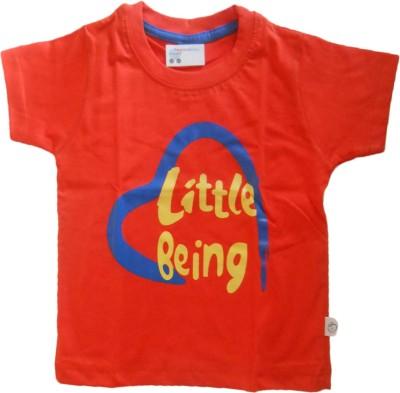 NammaBaby Self Design Baby Boy's Round Neck Orange T-Shirt