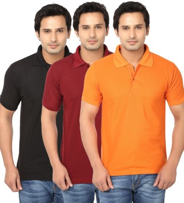 Ansh Fashion Wear Solid Men's Polo Neck Multicolor T-Shirt