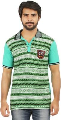 curviva Geometric Print Men's Polo Neck Light Green T-Shirt