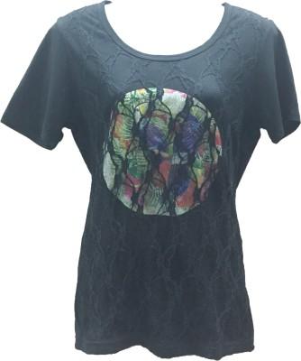 Dovekie Printed Women's Round Neck Black T-Shirt
