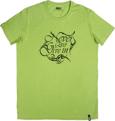 Never Ever Give In Printed Men's Round Neck Light Green T-Shirt