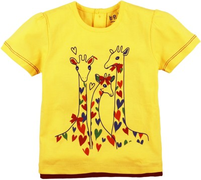 Baby Pure Printed Baby Girl's Round Neck Yellow T-Shirt