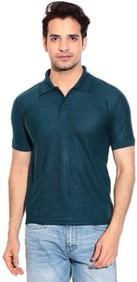 Davie Jones Solid Men's Polo Neck Green T-Shirt