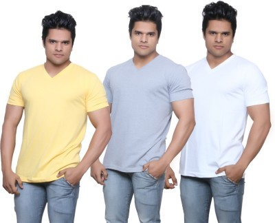 IndiStar Solid Men's Fashion Neck Yellow, Grey, White T-Shirt