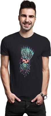 THREADCURRY Graphic Print Men's Round Neck Black T-Shirt