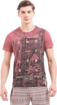 Shuffle Printed Men's Round Neck Pink T-Shirt