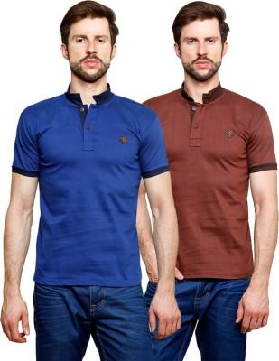 99Hunts Solid Men's Polo Neck Brown, Blue T-Shirt