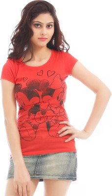 Texco Printed Women,s Round Neck Red T-Shirt