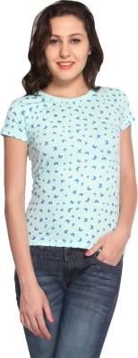 Maatra Printed Women,s Round Neck Light Green T-Shirt