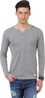 FROST Solid Men's Round Neck Grey T-Shirt