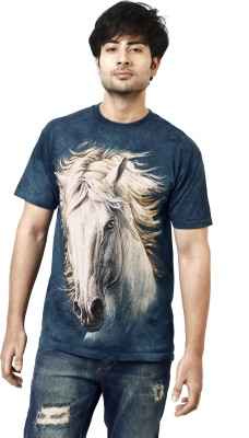 The Mountain Printed Men's Round Neck Dark Blue, White T-Shirt