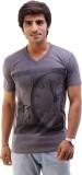 AR Fashions Printed Men's V-neck Black T...