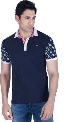 LAWMAN Printed Men's Polo Neck Blue T-Shirt