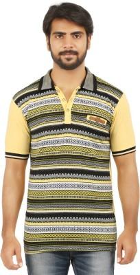 curviva Geometric Print Men's Polo Neck Yellow T-Shirt