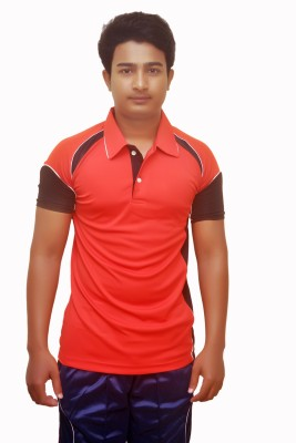 Dyed Colors Solid Men's Polo Neck Red, Black T-Shirt