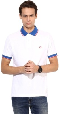 London Bridge Solid Men's Polo Neck White T-Shirt