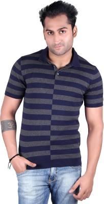 Kalt Striped Men's Polo Neck Blue, Grey T-Shirt