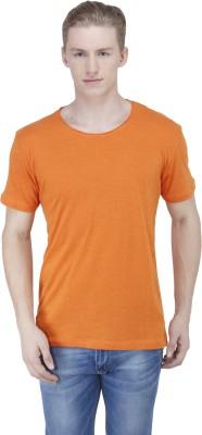 Sass Solid Men's Round Neck Orange T-Shirt