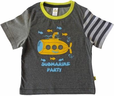 Tiny Bee Printed Baby Boy,s Round Neck Grey T-Shirt