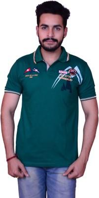 Inez Embroidered Men's Flap Collar Neck Dark Green T-Shirt