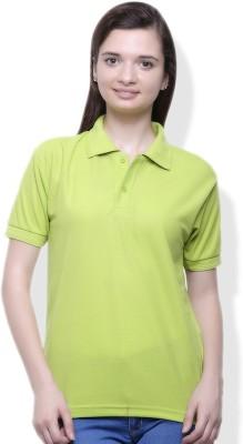 GOINDIASTORE Solid Women's Polo Green T-Shirt