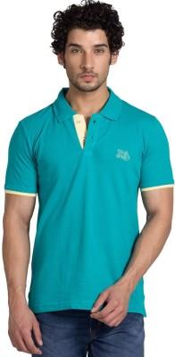 YOO Solid Men's Polo Neck Green T-Shirt