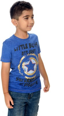 Shrunk By Be Pure Printed Boy's Round Neck Blue T-Shirt