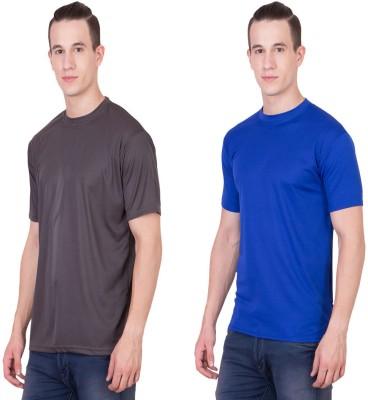 Randier Solid Men's Round Neck Grey, Blue T-Shirt