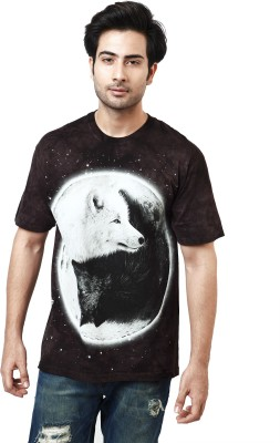 The Mountain Printed Men's Round Neck Maroon, Black, White T-Shirt